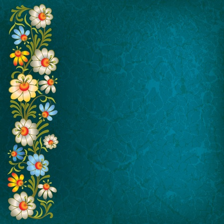 floral scroll: abstract vintage background with floral ornament on blue