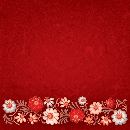 abstract vintage background with floral ornament on red Vector