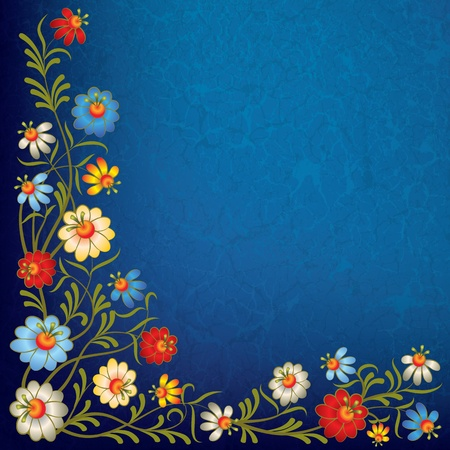 floral frame: abstract vintage blue background with color floral ornament