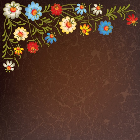 abstract vintage brown background with floral ornament Vector