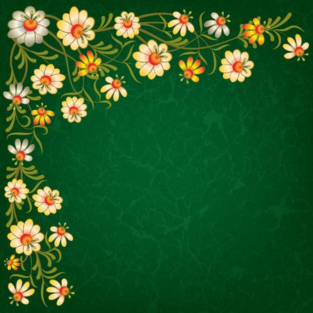 abstract vintage green background with color floral ornament Vector