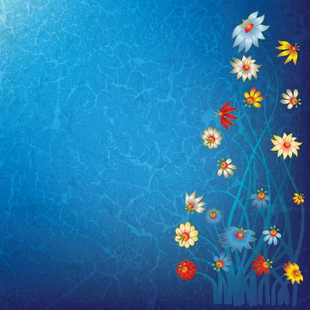 abstract grunge blue floral background with flowers Stock Vector - 9647121