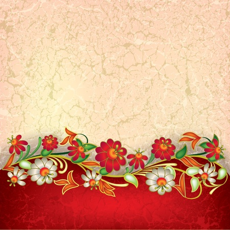 abstract grunge floral ornament on red background Vector