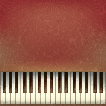abstract grunge music background with old piano keys  Vector