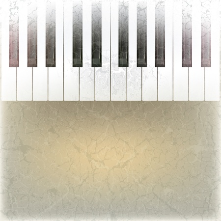 abstract grunge music background with piano keys on beige Vector