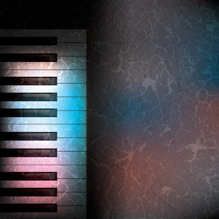 grunge music background: Fondo de m�sica grunge abstracto con teclas de pianos negro  Vectores