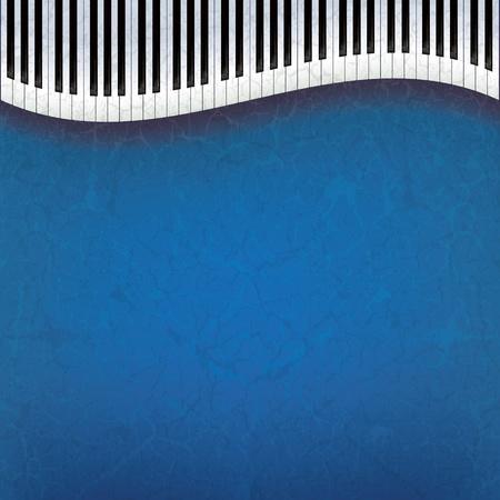 Fondo de música grunge abstracto con teclas de pianos en azul