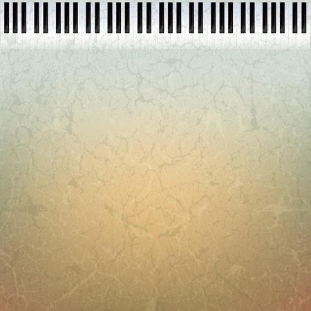 abstract grunge music background with piano keys on brown  Stock Vector - 9647102