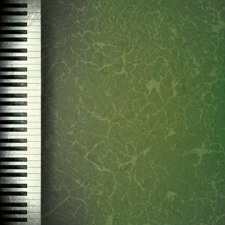 grunge music background: Fondo de m�sica grunge abstracto con teclas de pianos en verde