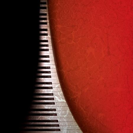 Fondo de música grunge abstracto con teclas de pianos en rojo