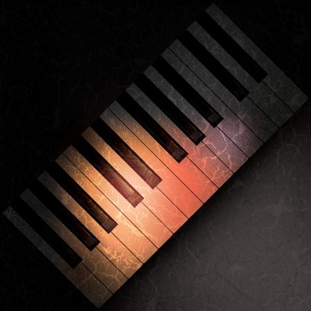 grubby: abstract grunge music background with spot light on piano keys  Illustration
