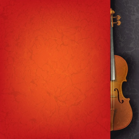 grunge music background: Fondo de m�sica grunge abstracto con viol�n en negro Vectores