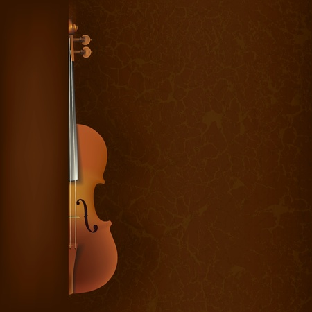 abstract grunge music background with violin on brown  Vector