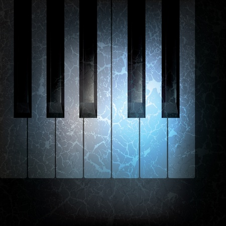 abstract grunge music black background with piano keys  Vector