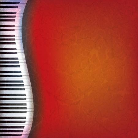 piano: abstract grunge muziek rode achtergrond met piano toetsen