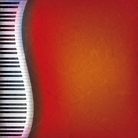 Fondo de música rojo grunge abstracto con piano keys  Ilustración de vector