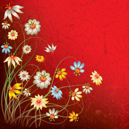 abstract grunge red floral background with flowers Stock Vector - 9647120