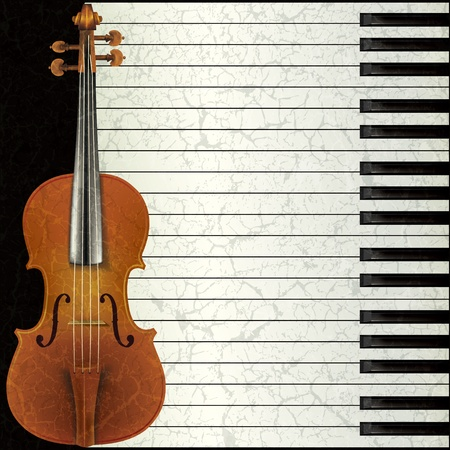 violins: abstract music background with violin and piano