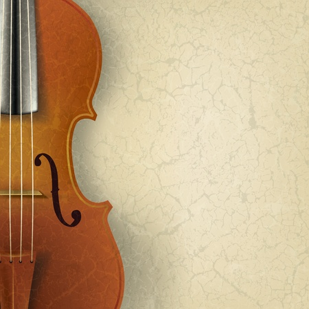 violas: abstract music background with violin on beige Illustration