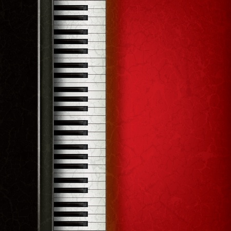 antique keys: abstract music grunge background with piano on red