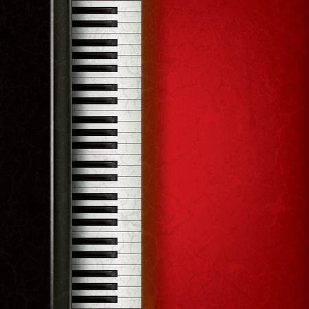 oude sleutel: abstracte muziek grunge achtergrond met piano op rood Stock Illustratie