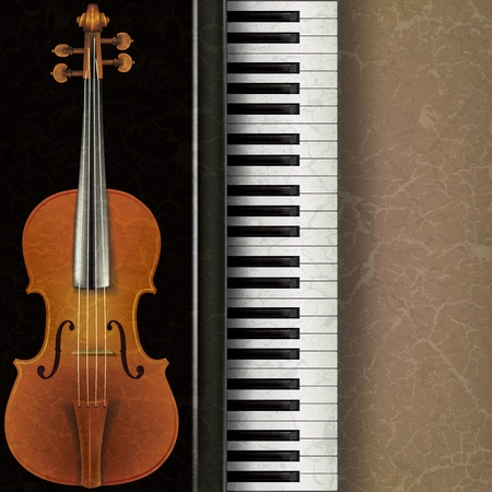 chord: abstract music grunge background with violin and piano