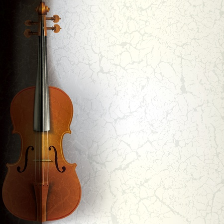 orchestral: abstract music grunge background with violin on white Illustration