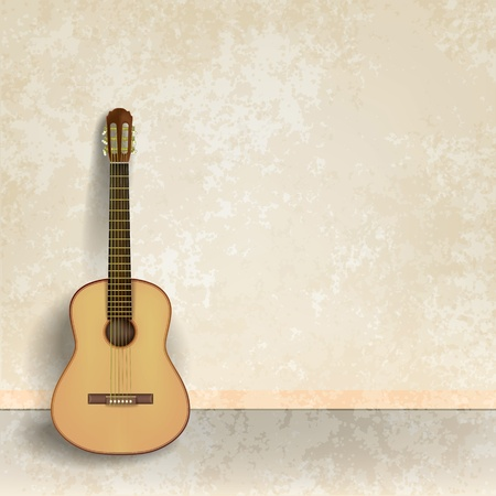 classical style: abstract beige grunge background with acoustic guitar