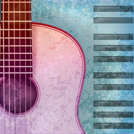 abstract blue grunge background with acoustic guitar and piano Stock Vector - 9716937