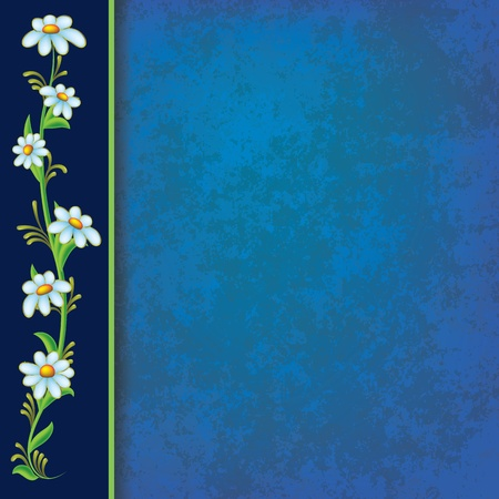 abstract blue grunge background with blue flowers on black Vector