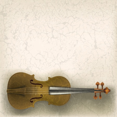 violoncello: abstract grunge music background with violin on a beige Illustration