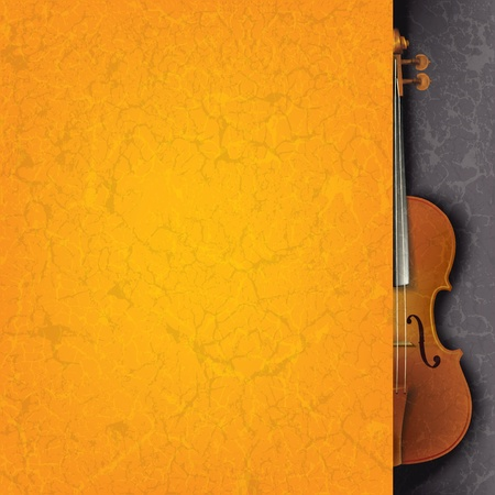 violoncello: abstract grunge orange music background with violin on black Illustration