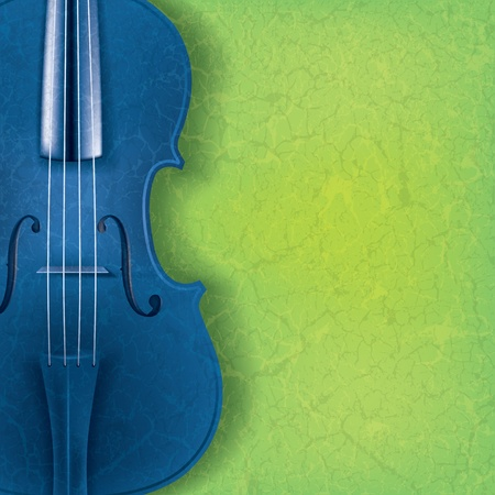 violins: abstract music background with blue violin on green Illustration