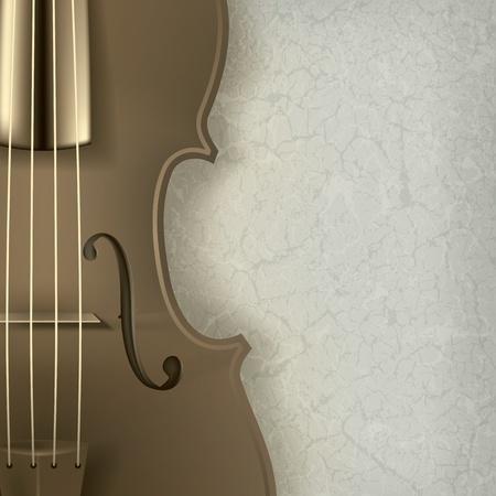 abstract music: abstracte achtergrond muziek met viool op grijs Stock Illustratie