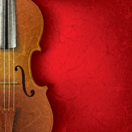 classical theater: abstract music background with violin on red