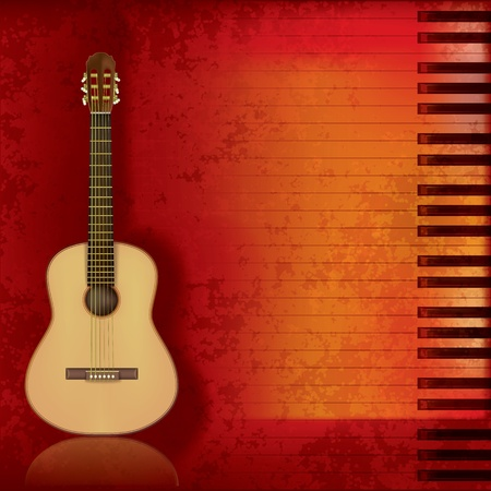 music instrument: abstract music grunge background acoustic guitar and piano Illustration