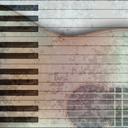 classical style: abstract music grunge background with acoustic guitar and piano