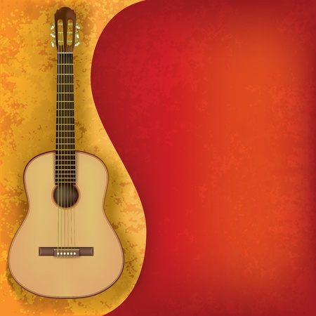 abstract music grunge background with acoustic guitar Vector