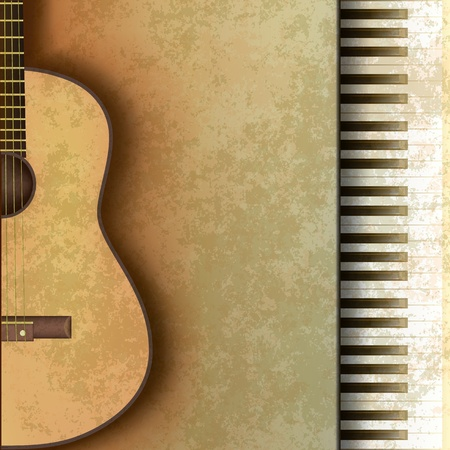 abstract music grunge background with guitar and piano Stock Vector - 9716941