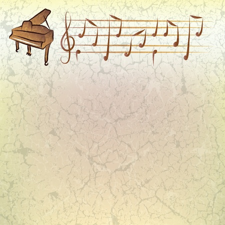 keyboard music: abstract music grunge background with piano and notes Illustration