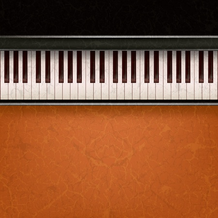abstract music grunge background with piano on a brown Vector