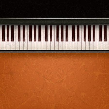 abstract music: abstracte muziek grunge achtergrond met piano op een brown Stock Illustratie
