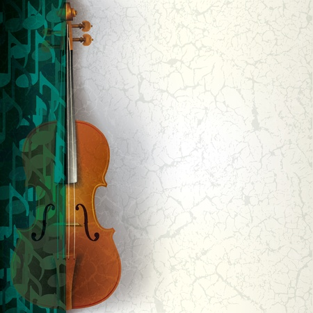 abstract music grunge background with violin and notes Stock Vector - 9716931