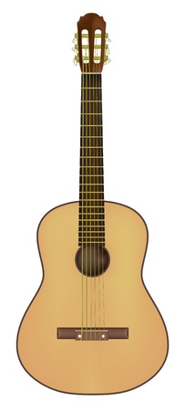 fender: acoustic guitar isolated on a white background Illustration