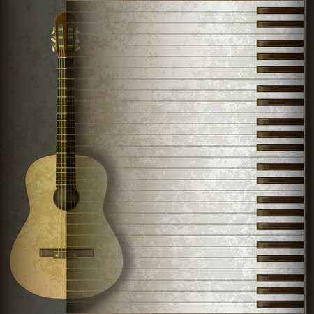 musical instrument: music grunge background acoustic guitar and piano Illustration