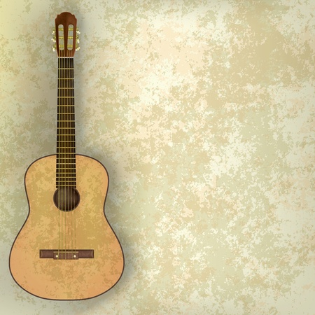 music grunge background acoustic guitar on beige Vector