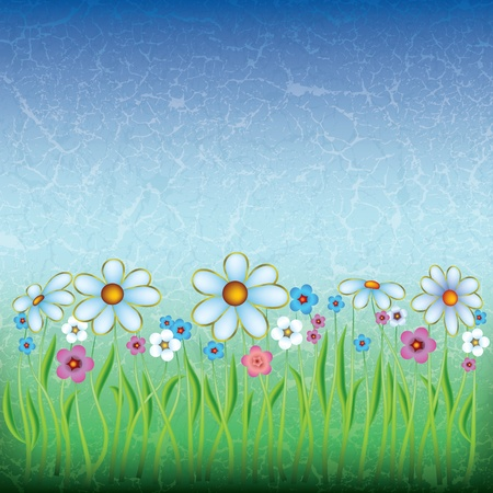 abstract floral illustration with flowers on grunge background Vector