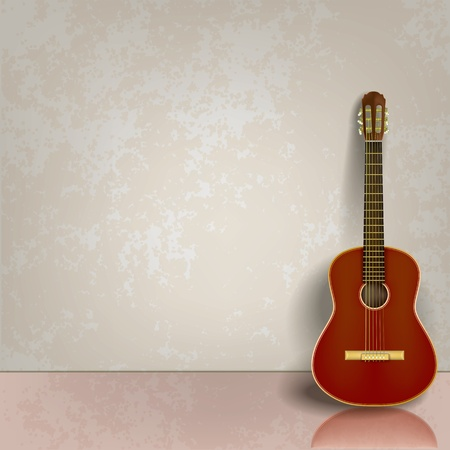 classical style: abstract grey grunge background with acoustic guitar