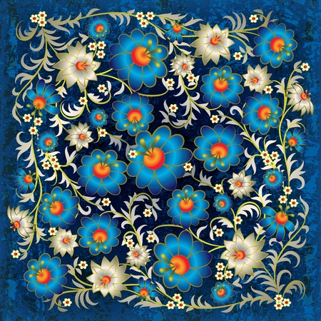 abstract grunge floral ornament with blue flowers Vector