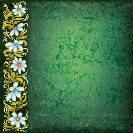 abstract grunge floral ornament with flowers on green Vector